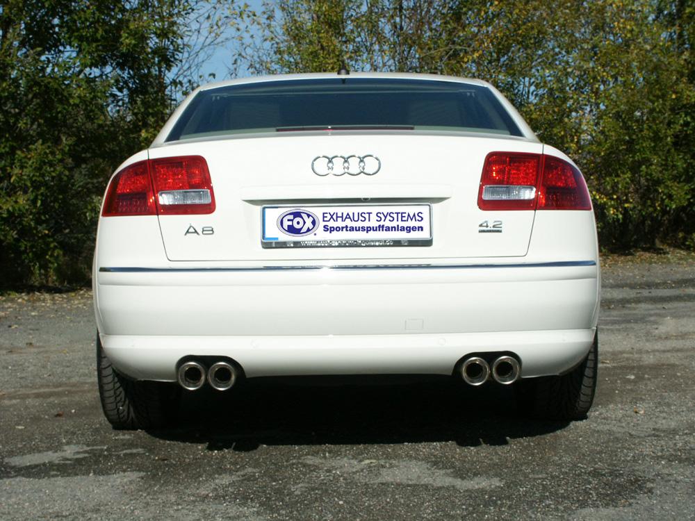 Fox Duplex Auspuff Sportauspuff Komplettanlage Audi A8/ S8 4E 3,7l 4,2l