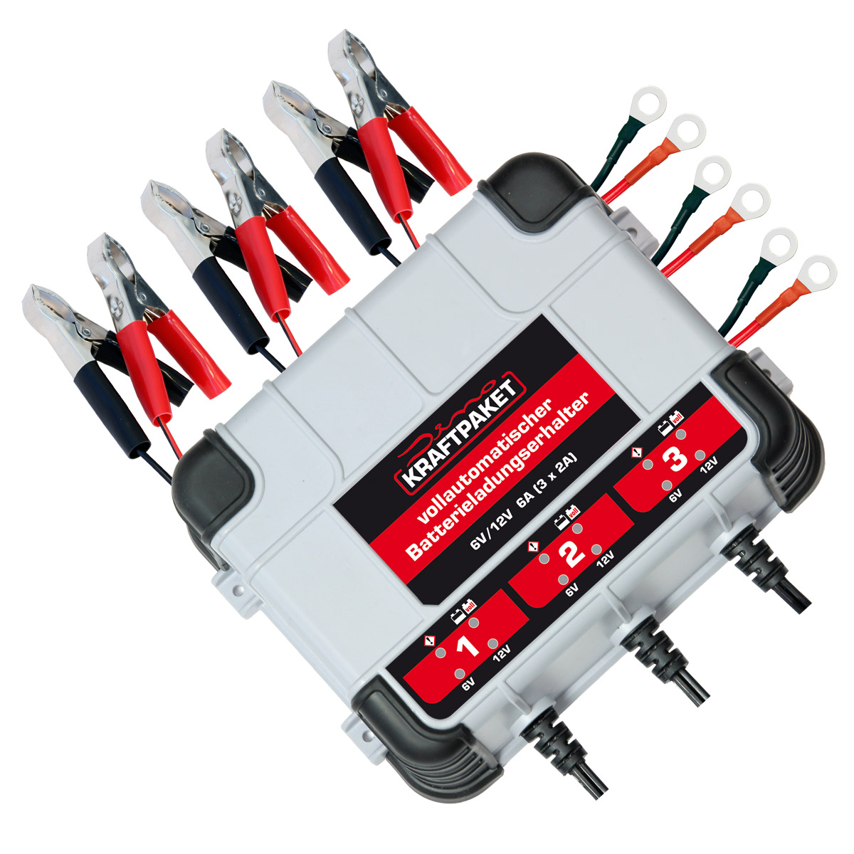 Dino Kraftpaket Kfz Motorrad Batterieladegerät Erhaltungsladegerät 6/12V 3x 2A