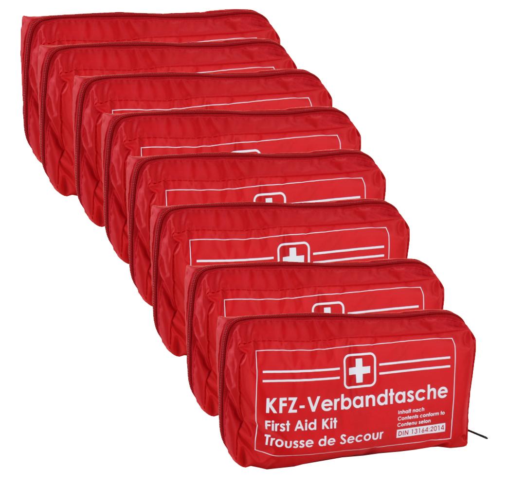 8x Verbandtasche Verbandstasche Erste-Hilfe Verbandskasten PKW DIN13164 ROT