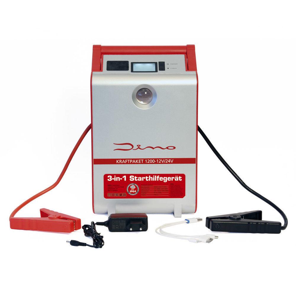 Dino KRAFTPAKET 12V 24V 1200A Mobile Batterie Starthilfe Gerät Starthilfegerät