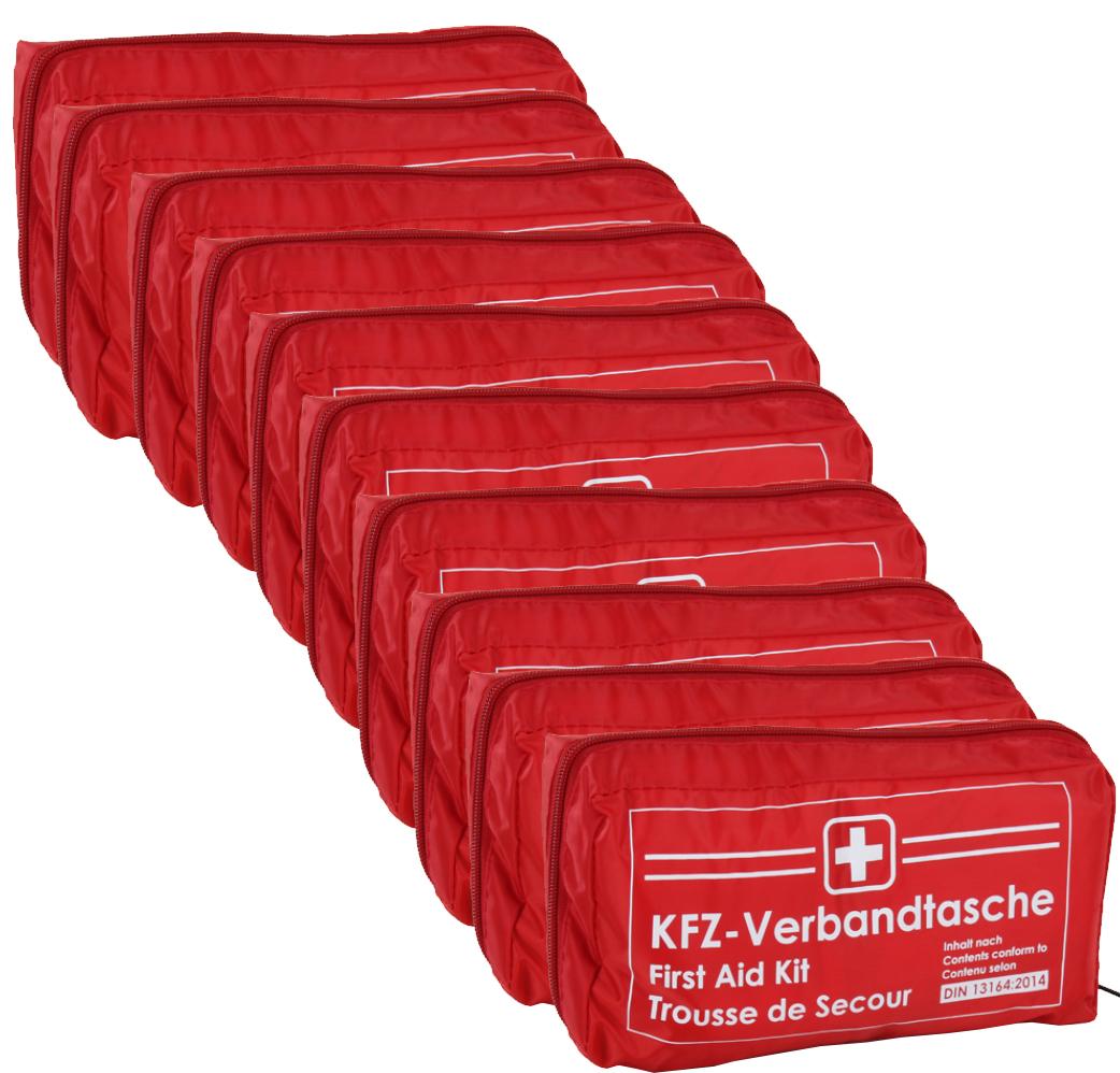 10x Verbandtasche Verbandstasche Erste-Hilfe Verbandskasten PKW DIN13164 ROT