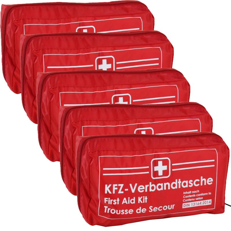 5x Verbandtasche Verbandstasche Erste-Hilfe Verbandskasten PKW DIN13164 ROT