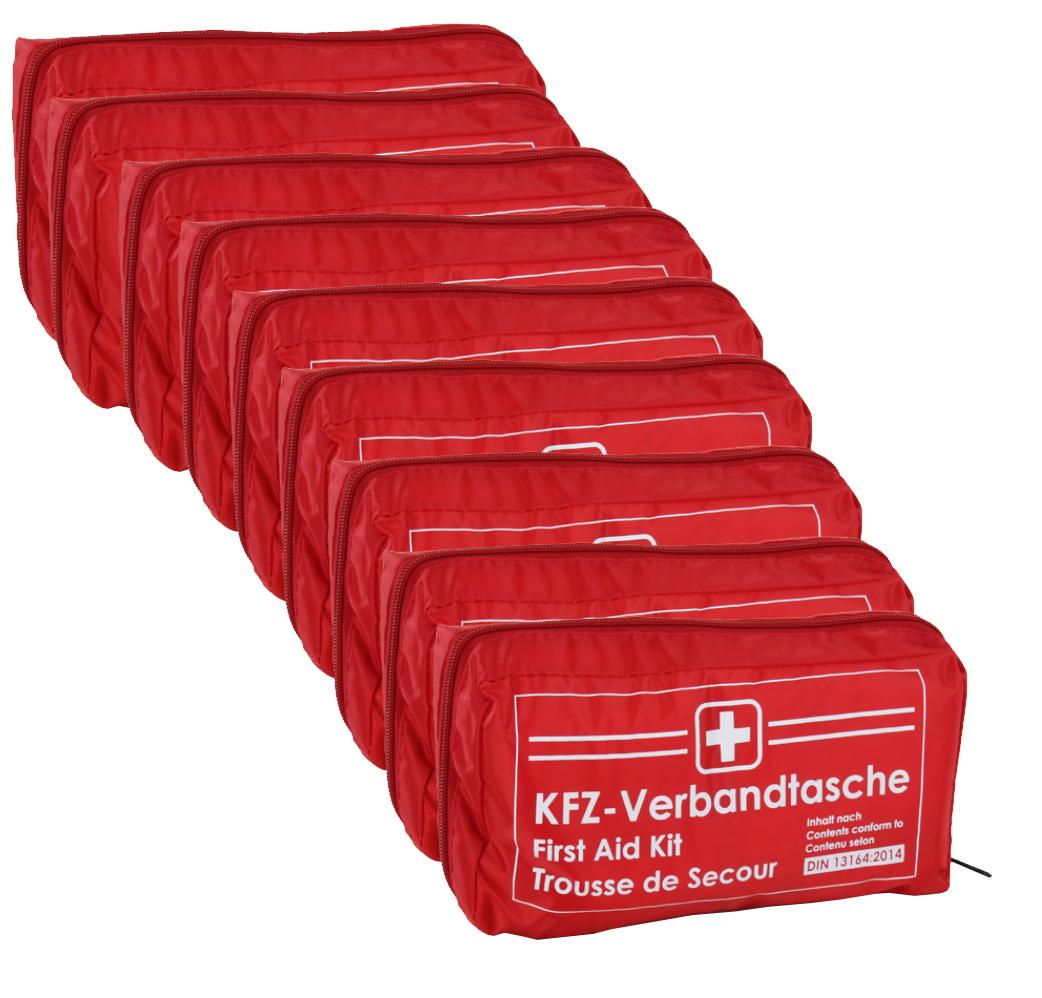 9x Verbandtasche Verbandstasche Erste-Hilfe Verbandskasten PKW DIN13164 ROT