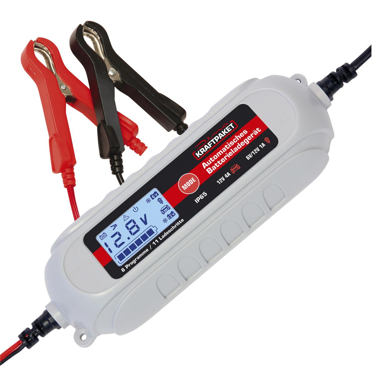 Dino Kraftpaket Batterieladegerät 6V/12V-4A Erhaltungsladerät mit Batterietester