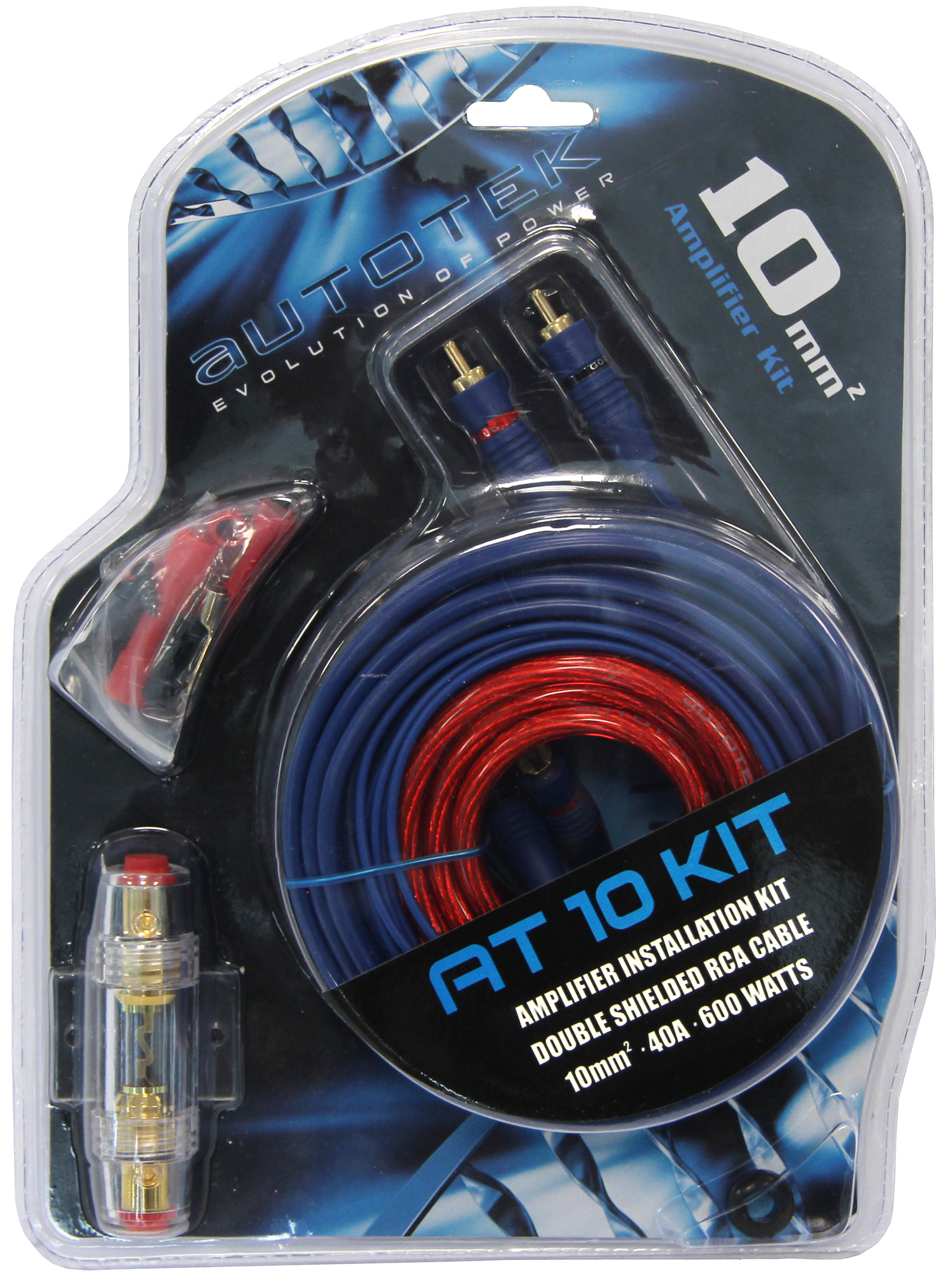 AUTOTEK AT10 10mm² Endstufe Verstärker Anschluss Set Amplifier Auto Kabel Kit