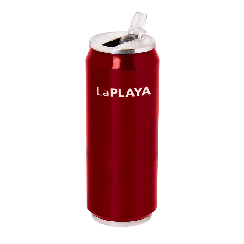 Trinkflasche LaPlaya Trinkdose Thermo Cool Can Edelstahl Dose 0,5l rot