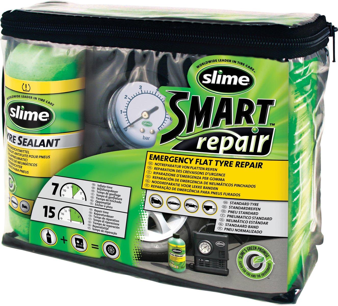 Slime Reifen Pannenset mit Kompressor+Dichtmittel Tire Repair Kit Smart Repair
