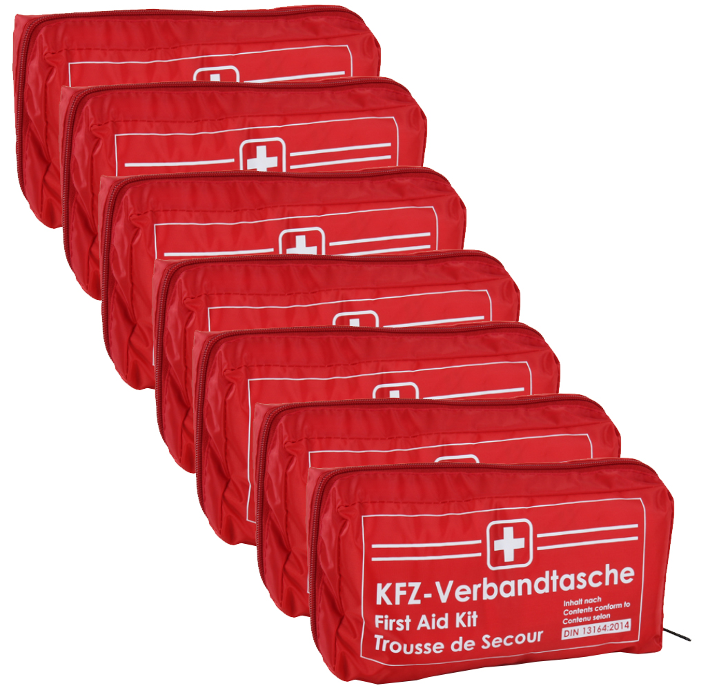 7x Verbandtasche Verbandstasche Erste-Hilfe Verbandskasten PKW DIN13164 ROT