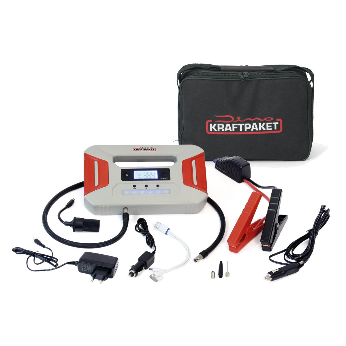 Dino Kraftpaket Batterie Starthilfegerät mit Powerbank 12V 600A und Kompressor