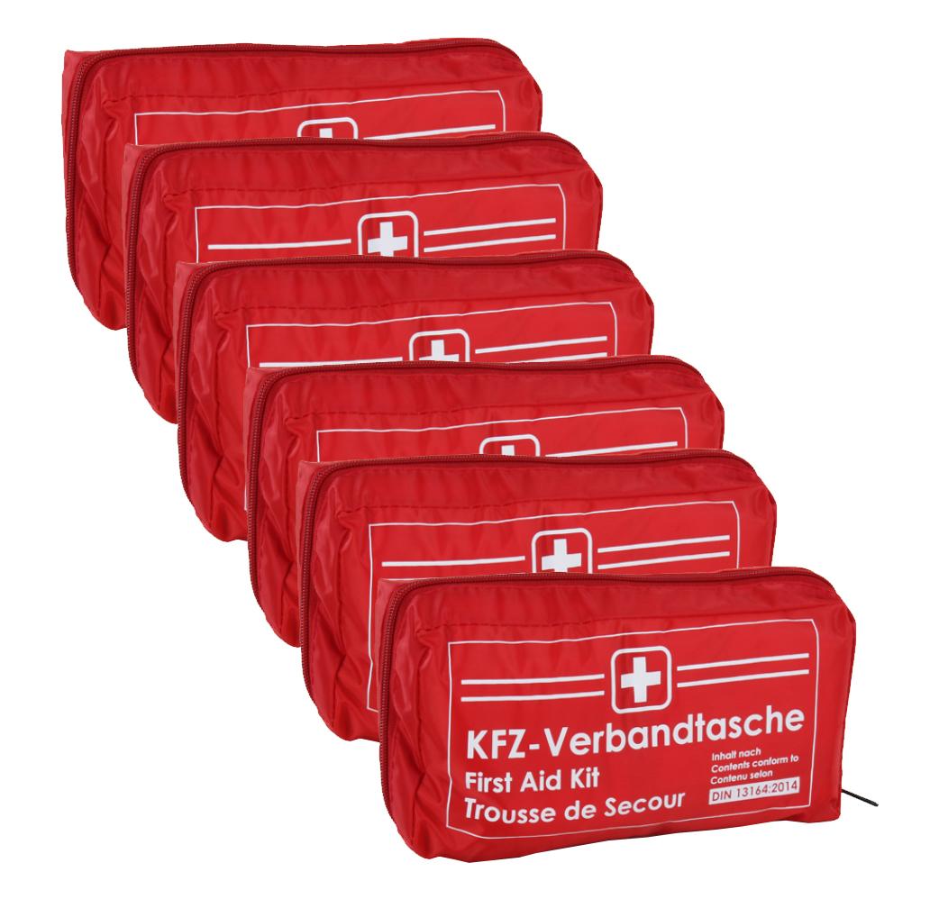 6x Verbandtasche Verbandstasche Erste-Hilfe Verbandskasten PKW DIN13164 ROT