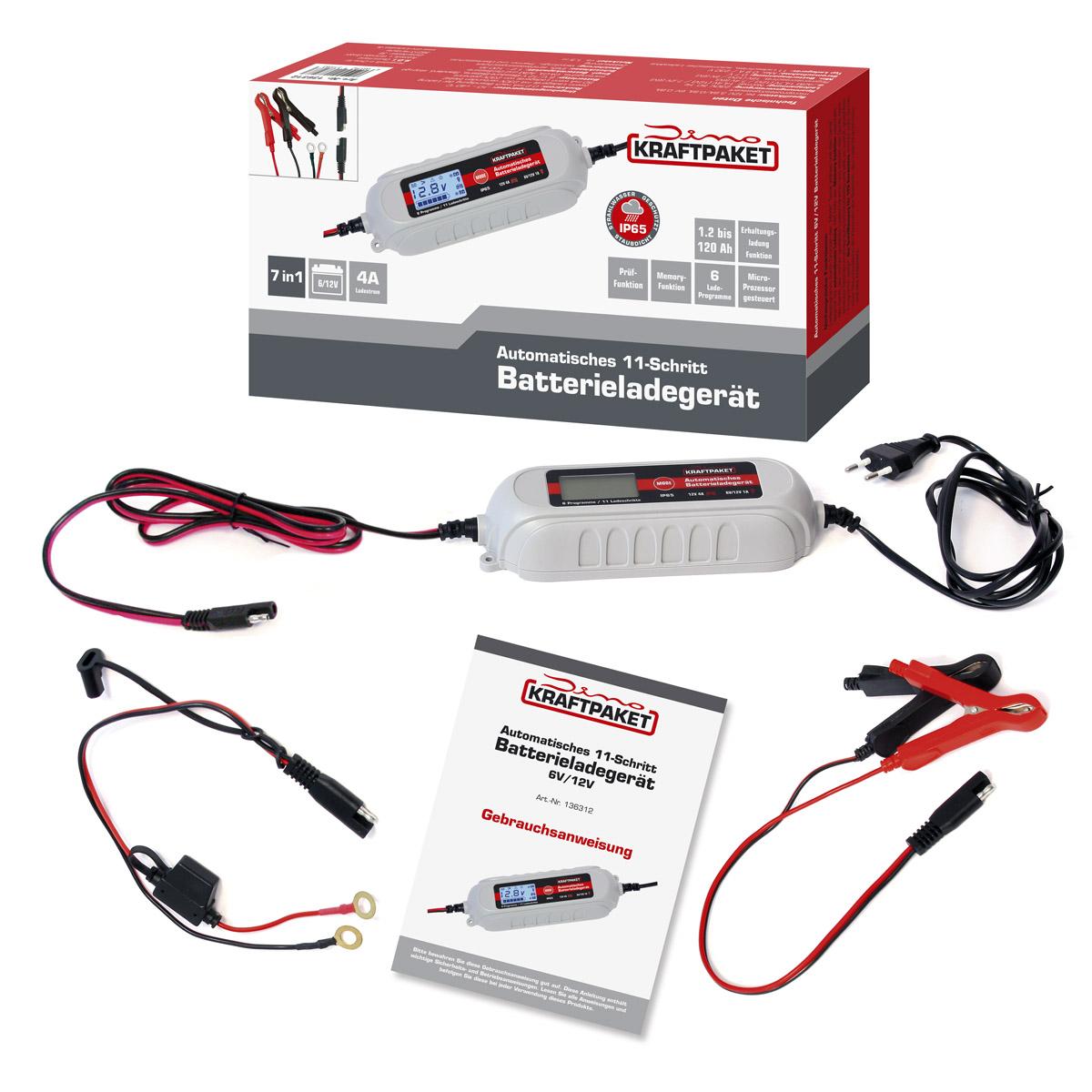 Dino Kraftpaket Batterieladegerät mit Batterietester KFZ 6V-1A/12V-4A 136312